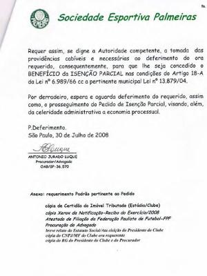 Papel do Palmeiras assinado por Luque
