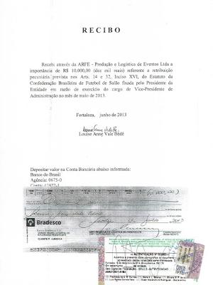 Documentos comprovam pagamento  a membros da Confederação Brasileira de Futsal através da empresa ARFE