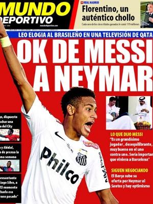 Capa do Mundo Deportivo desta quarta-feira já traz a benção de Messi por Neymar