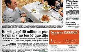 Manchete do jornal 'El Mundo': Neymar teria custado 38 milhões de euros além do divulgado