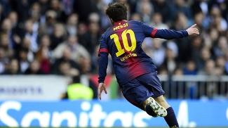 Messi comemora gol contra o Real
