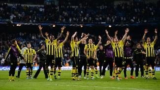 Jogadores comemoram: Borussia Dortmund está na final da Champions League