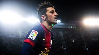 David Villa, do Barcelona, em ação durante jogo contra o Rayo Vallecano, pelo Espanhol