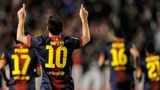 Messi comemora mais um gol; Espanhol tem média de 2,90