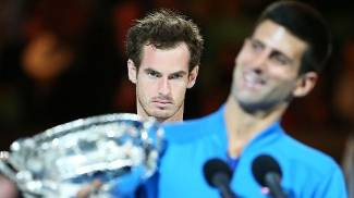 Novak Djokovic Trofeu Australian Open Andy Murray 2015/01/02