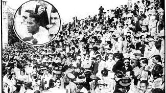 Torcida presente a General Severiano; no detalhe, Domingos da Guia, ídolo do Flamengo