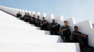 Polícia do Exército também buscou a sombra durante treino na Gávea