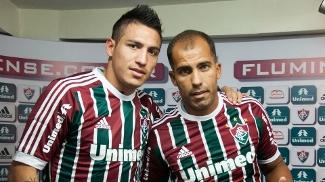 Monzón e Felipe na apresentação no Fluminense