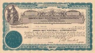 Reprodução de um dos certificados de venda de ações dos Packers