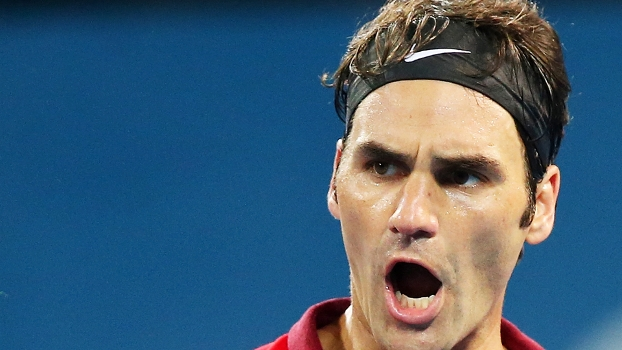 Roger Federer Comemora Milos Raonic ATP Brisbane Tenis 11/01/2015