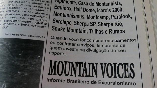 Anúncio no Mountain Voices 23 de maio de 94 - apoie quem te apoia