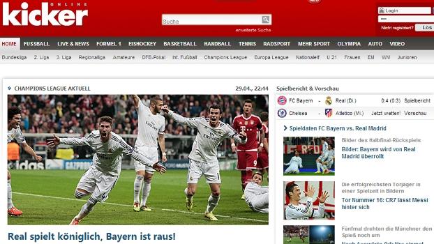 'Real joga como rei, e Bayern está fora', publicou a Kicker