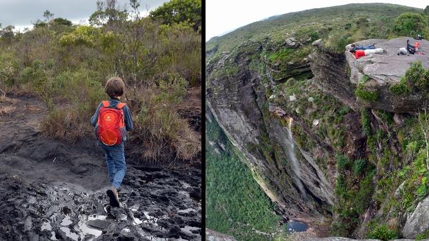 A queda d'água de 340m da cachoeira da Fumaça