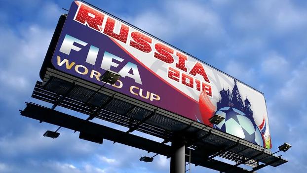 Placa promocional da Copa de 2018, em Moscou