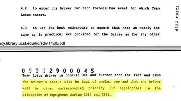 Contrato de Ayrton Senna com a Lotus mostra privilégios de primeiro piloto