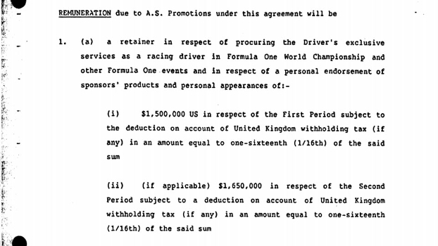 Salário de Ayrton Senna em 1987 era de US$ 1,5 milhão segundo os documentos