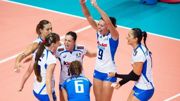 Itália Comemora Ponto EUA Mundial Feminino Vôlei 08/10/2014