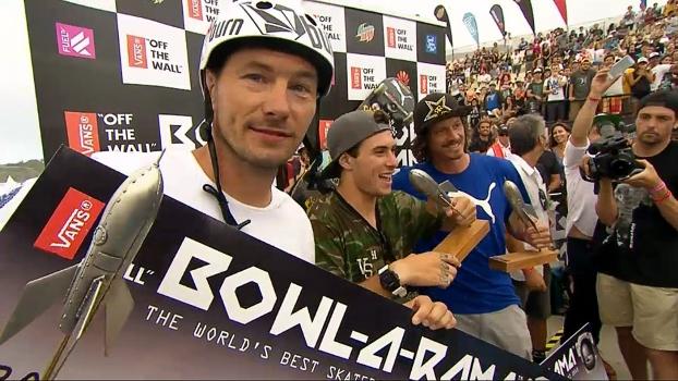 Rune Glifberg, Pedro Barros e Bucky Lasek no pódio no Bowl-A-Rama