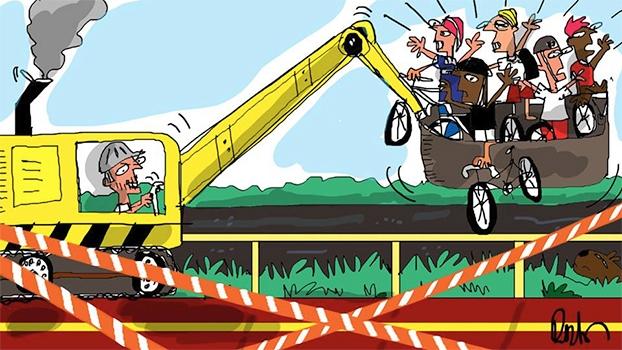 Ciclistas sem opção: Ciclovia interditada por 2 anos! | Arte de Reynaldo Berto
