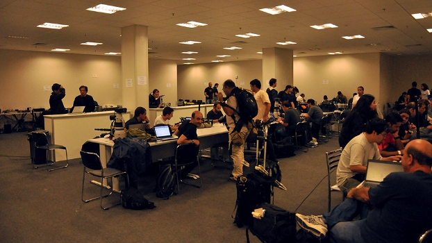 Sala de imprensa da Arena Corinthians recebeu um grande número de profissionais
