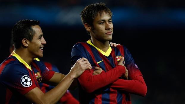 Neymar marcou três vezes na goleada do Barcelona sobre o Celtic