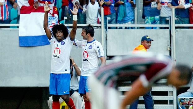 William Barbio comemora o seu gol contra o Fluminense, que virou o jogo, mas não evitou a queda
