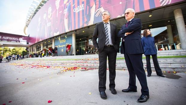 Joan Collet Presidente Espanyol Camp Nou Barcelona Tributo Tito Vilanova 26/04/2014