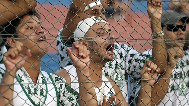 Torcida organizada do Palmeiras acompanha o time na derrota para o Tigre na Argentina