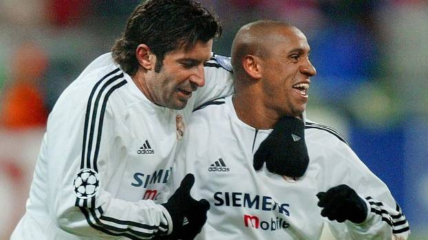 Figo e Roberto Carlos à época de Real Madrid: ex-lateral apoia português na Fifa
