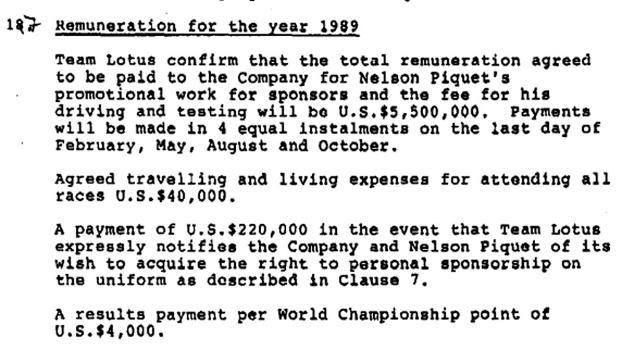 Salário de Piquet em 1989: com todos os benefícios e bônus, US$ 5 milhões