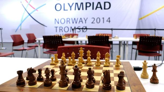 Banner da Olimpíada de xadrez de Tromso, na Noruega