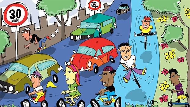 O cenário ideal: Diminução das mortes no trânsito e aumento da qualide de vida nas cidades. | Arte de Reynaldo Berto
