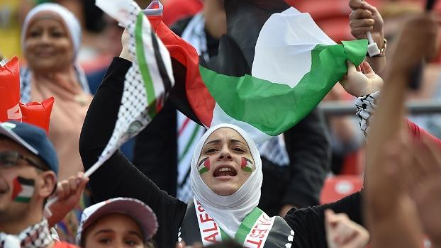 Copa da Ásia Japão Palestina Torcedora Bandeira 12/01/15