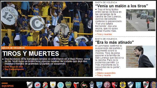 'Tiros e mortes' diz o site do jornal argentino 'Olé' sobre mais um episódio de violência na Argentina