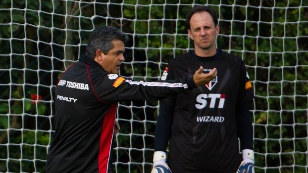 Ney Franco e Rogério Ceni, em treino do São Paulo