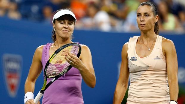 Martina Hingis e Flavia Pennetta perderam nas duplas femininas