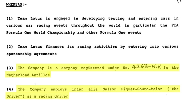 Contrato de Nelson Piquet com a Lotus mostra empresa em Curcaçao, nas Antilhas Holandesas