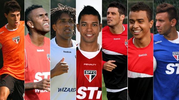 Da esquerda para a direita, afastados do São Paulo: Henrique Miranda, João Filipe, Cortez, Wallyson, Fabrício, Luiz Eduardo e Cañete