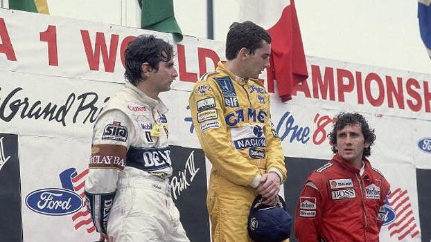 Piquet e Senna com Alain Prost no pódio do GP de Detroit, em 1987