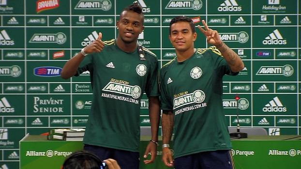 Kelvin e Dudu são apresentados no Palmeiras