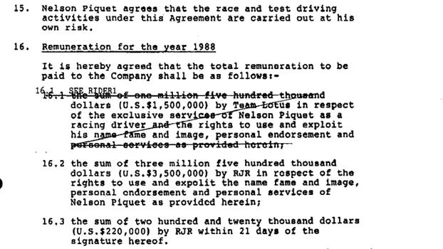 Salário do primeiro ano de Piquet, em um pré-contrato com a Lotus