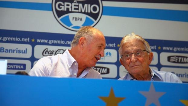 Luiz Felipe Scolari e Fábio Koff durante encontro na Usininos em março deste ano