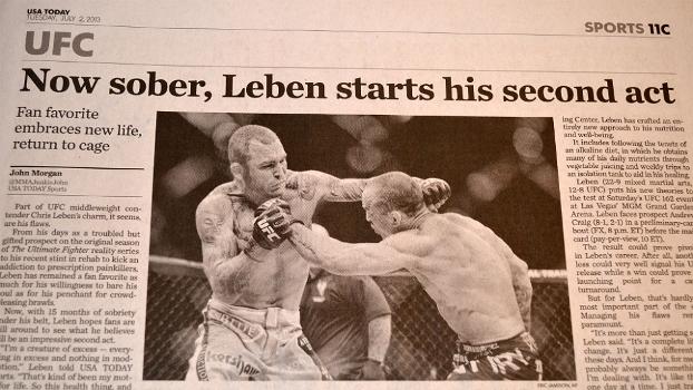 Entrevista com Chris Leben é destaque no USA Today desta terça-feira