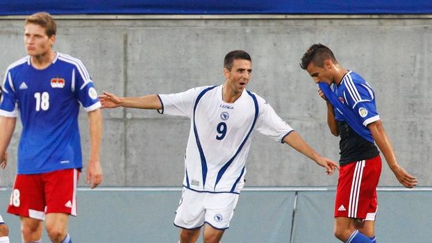 Ibisevic comemora um de seus três gols pela Bósnia contra Liechtenstein pelo grupo G