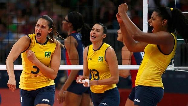 Dani Lins, Sheila e Garay comemoram contra os EUA