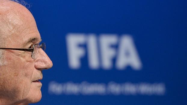Joseph Blatter durante coletiva na Fifa