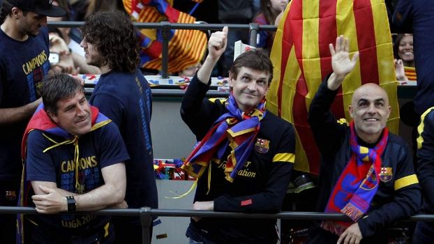 Tito Vilanova (centro) foi campeão espanhol logo em sua estreia como técnico