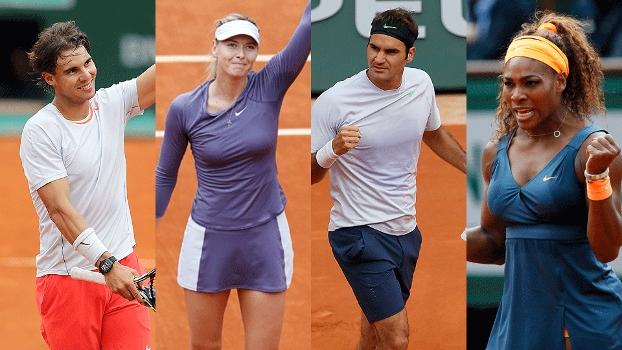 6º dia de jogos de Roland Garros tem Rafael Nadal, Maria Sharapova, Roger Federer e Serena Williams em ação