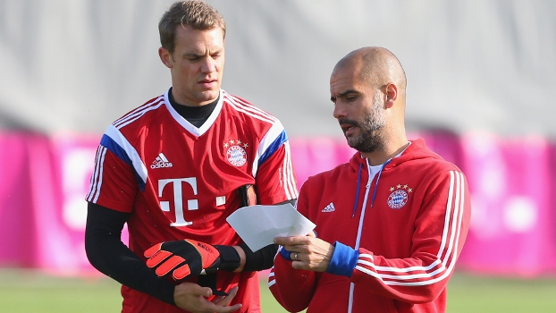Manuel Neuer Josep Guardiola Treino Bayern de Munique 02/10/2014
