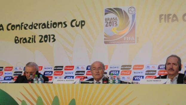 José Maria Marin, Joseph Blatter e Aldo Rebelo em coletiva da Fifa e do COL no Rio de Janeiro